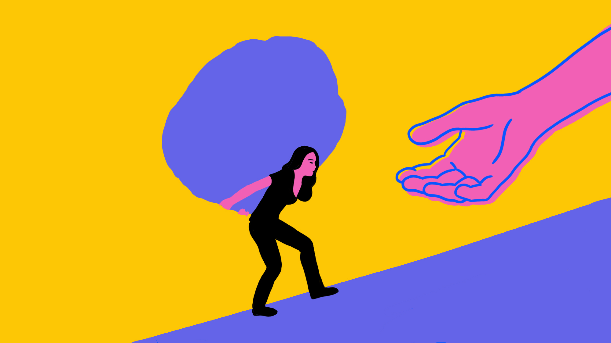 Illustration of a woman carrying a heavy load with an open hand in front of her to show struggle