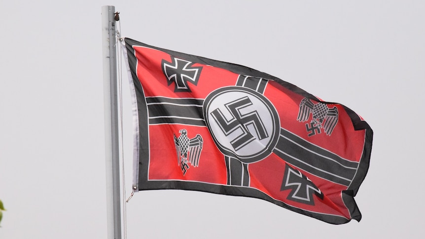 nazi flag taken down amid calls to strengthen anti-vilification laws - abc  news  abc