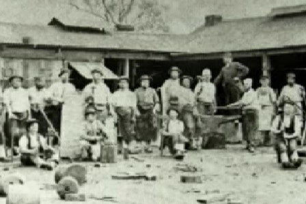 Early German settlers at work in the Barossa Valley.