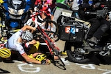 L to R, Richie Porte, Bauke Mollema and yellow jersey holder Chris Froome crash at Tour de France.