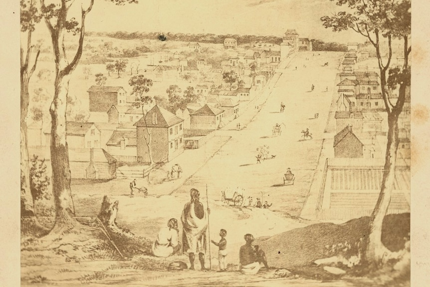A detailed drawing shows a group of Aboriginal people overlooking the beginnings of the city of Melbourne being built.