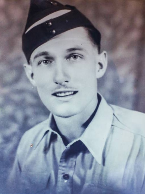 A young air force pilot (Frank Robertson) at 21 years of age.  He fought for the 75 squadron.
