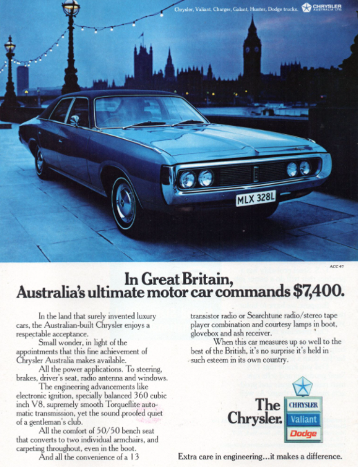 Chrysler Australia 1973 Advert