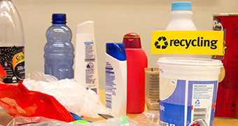 Plastic bottles, bags and other products on a table