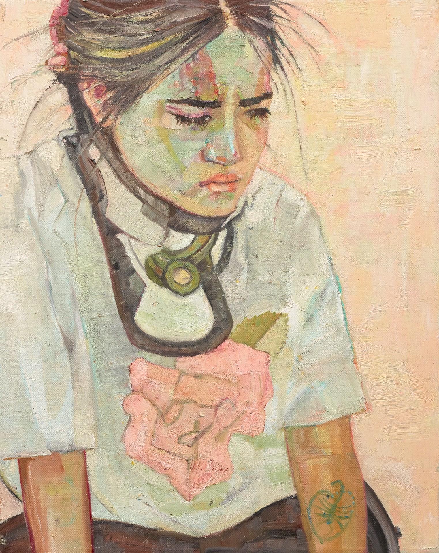 A painting of artist Visaya Hoffie in a neck brace, looking downcast