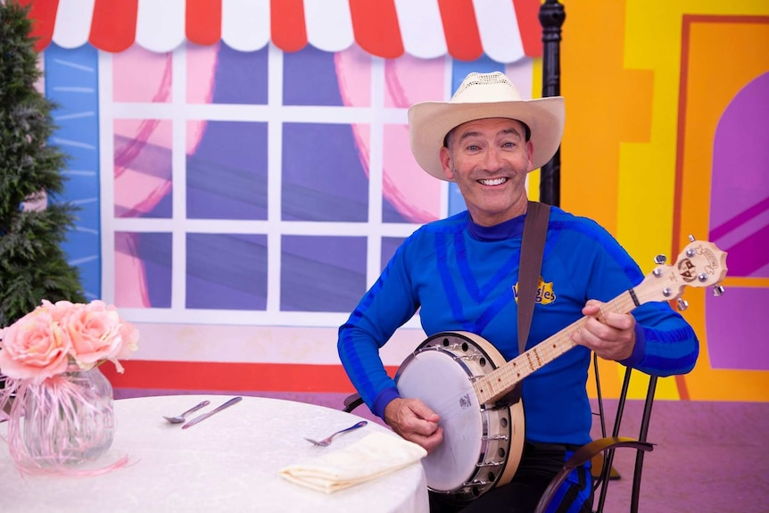 Anthony Field dressed up in costume on the Wiggles set
