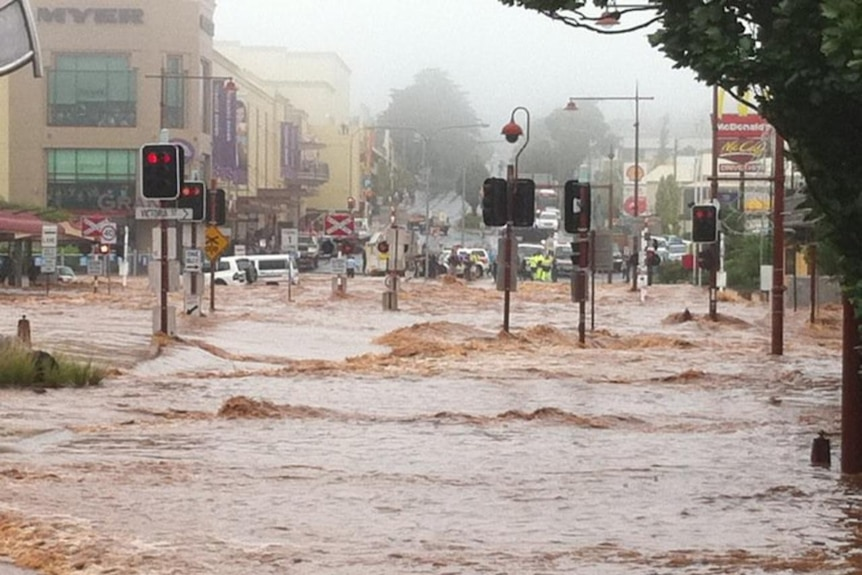 Margaret Street in Toowoomba is swallowed by floodwaters on January 10, 2011.