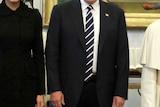 US President DonaldTrump, first lady MelaniaTrumpand daughter IvankaTrump, left, meet withPopeFrancis.