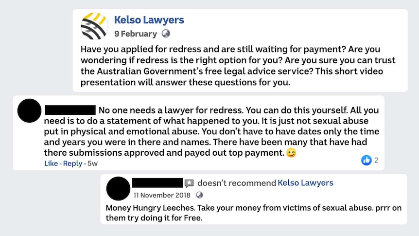A graphic of three posts on the Kelso Lawyers Facebook Page