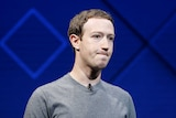 Facebook Founder and CEO Mark Zuckerberg presses his lips togther.