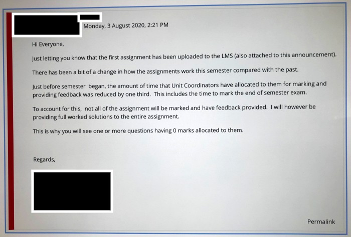 A screen capture of an email sent to students from their unit coordinator.