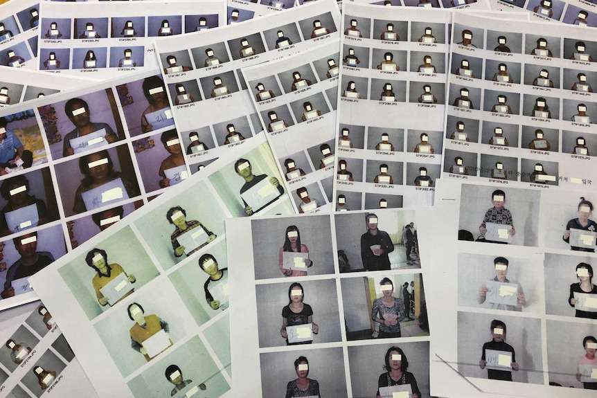 A collection of photos of people holding paper with faces blocked out.