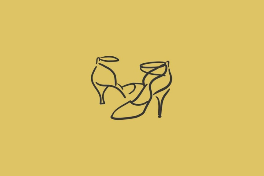 Illustration of high heeled dancing shoes.