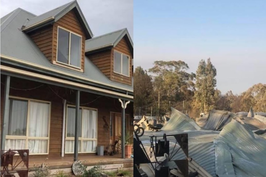 Before and after images of a house that was destroyed by bushfires in Sarsfield.