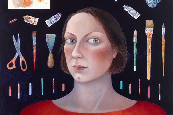 A painting of a woman looking at the camera.