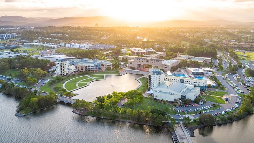 The sun sets over Bond University campus at Varsity Lakes, Gold Coast