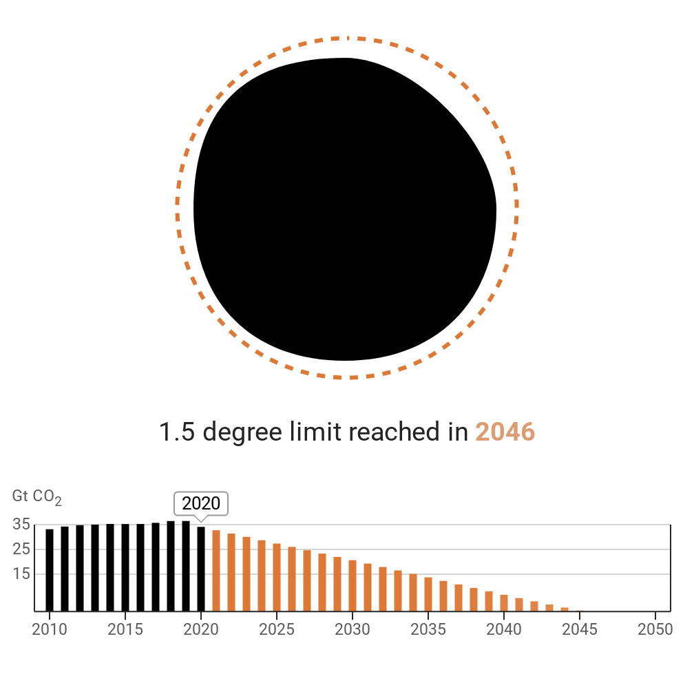 The chart now starts at 2010 - and focuses on the projections decreasing from 2020 to zero emissions in 2046.