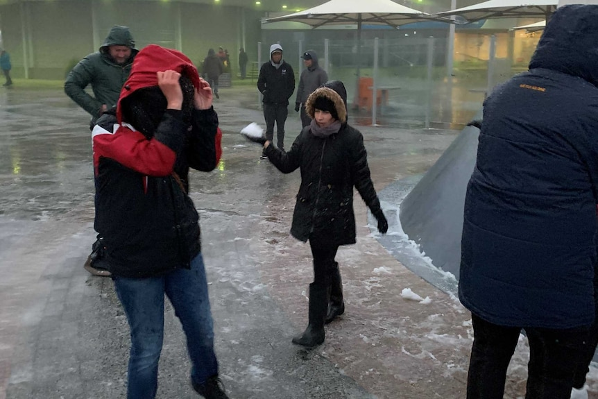 A woman holding a snowball while others hold their coat hoods