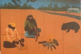 A mural showing the highway, outback, Indigenous people and wildlife at Yalata.