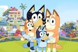 Animated dog family.