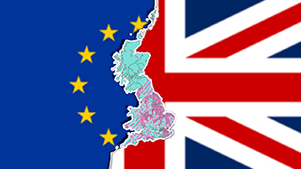 A Union Jack next to the EU flag, a map of the UK between them