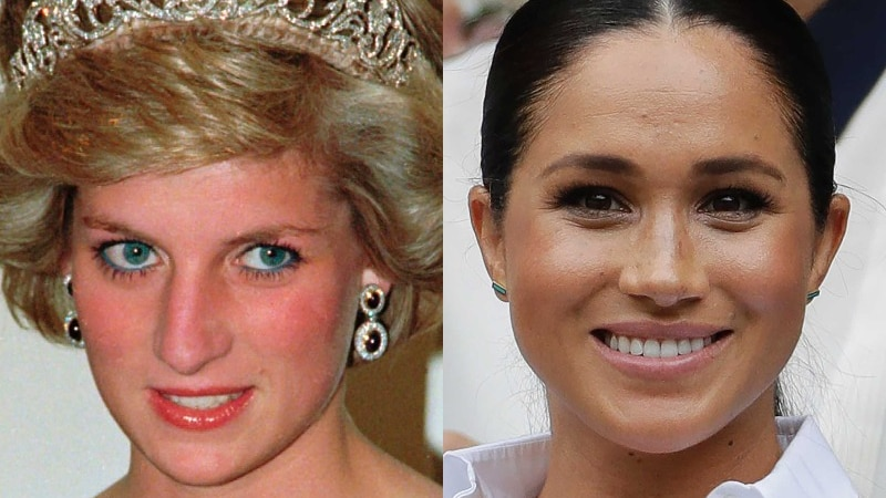 A composite image of Princess Diana in a tiara and Meghan Markle smiling