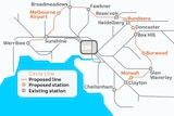 A map showing the route of the Victorian Government's proposed suburban rail loop.