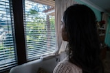 Rosie looking out window
