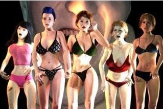 Several computer-generated women dressed in underwear, looking scared. A man's laughing face is visible in the background