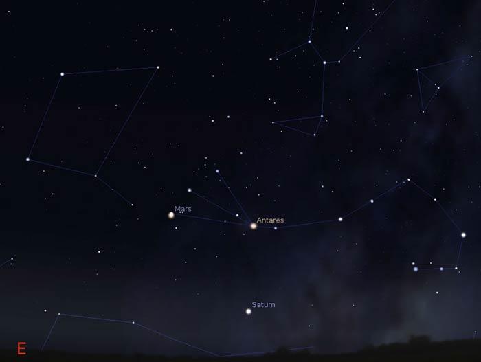 Scorpius constellation in March