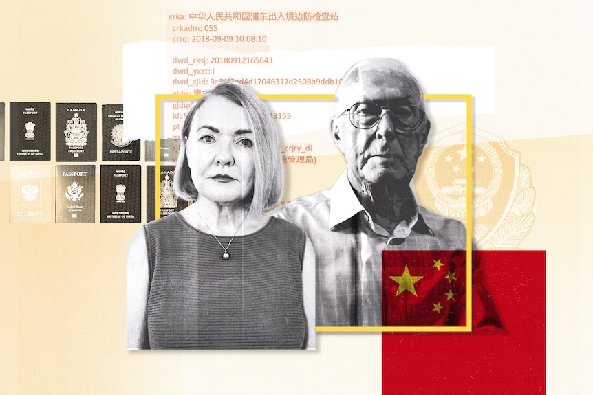 A graphic showing a man and woman, passports, the Chinese flag, lines of data and a police badge.