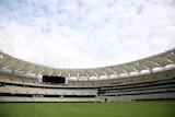 Perth Stadium interior, turf, seats and big screen.