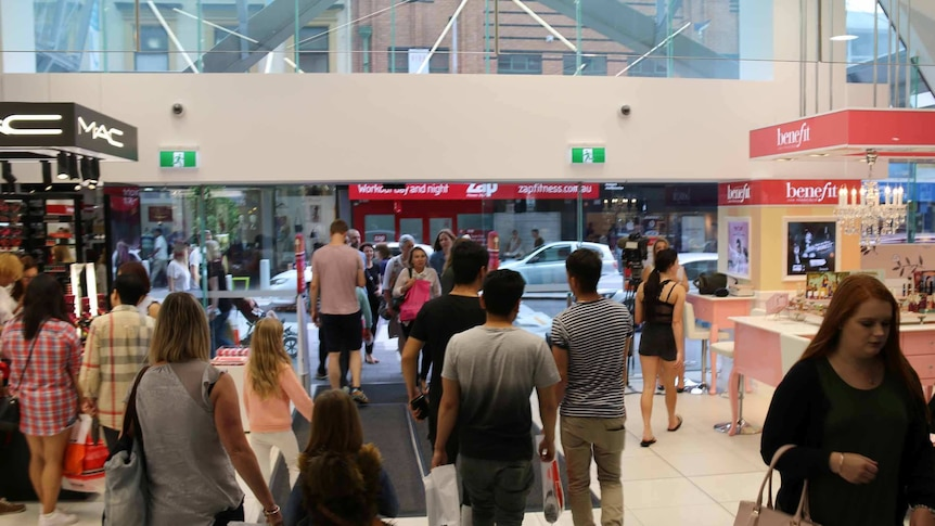 Shoppers in a department store