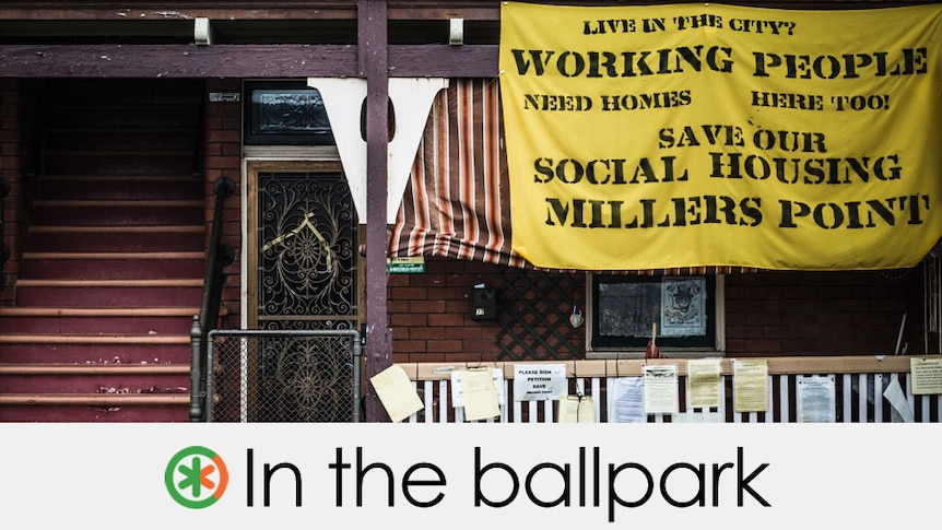 """housing flat with a protest sign which reads """"Save our social housing millers point""""  the claim is in the ballpark"""