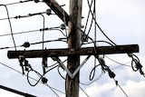 An electricity pole and wires.