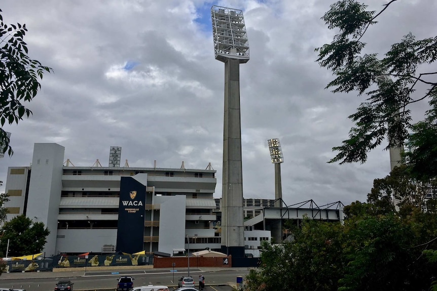 Grey clouds in the sky above Perth's WACA Ground.