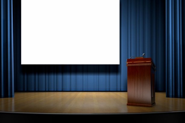 Empty lectern on stage, file photo.