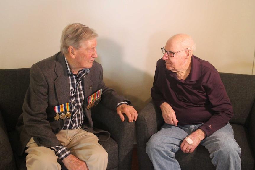 Australian war veterans Colin Hamley (left) and Norman Anderton were prisoners of war forced to work on the Thai-Burma Railway.
