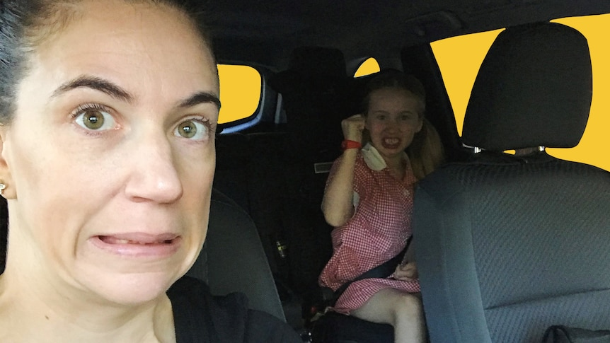 Shona and her daughter in the car looking angry in a story about how driving aggression affects your kids