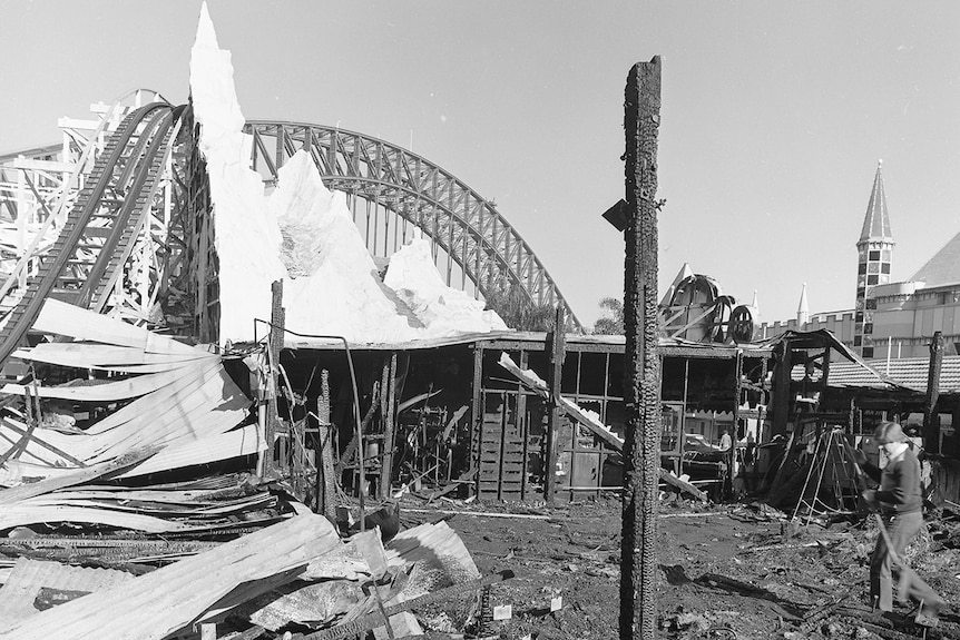 The burnt out Ghost Train at Luna Park