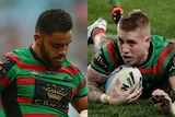 Composite of Rabbitohs players Dylan Walker and Aaron Gray