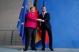 German Chancellor Angela Merkel and French President Emmanuel Macron shake hands.