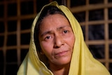 A closeup of Mustafa Khatun with a dejected look on her face.