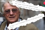 A headshot of a man with grey hair with torn out excerpts of a document superimposed over him.