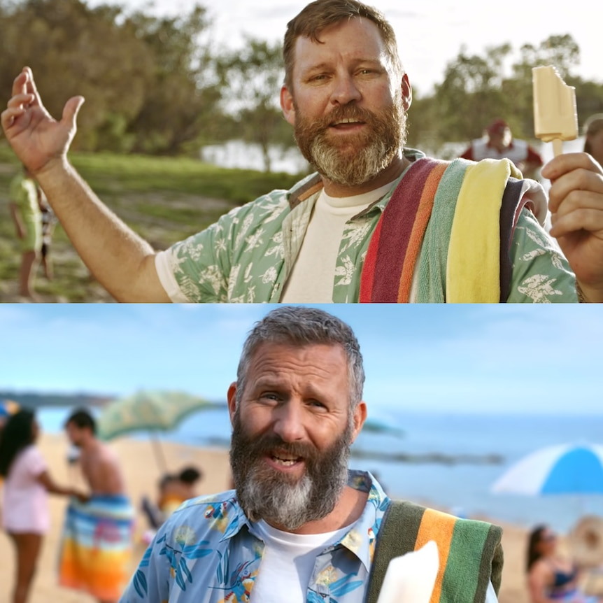 Composite image of a bearded man with a beach towel and icy pole on a river bank above a similar shot of Adam Hills on a beach