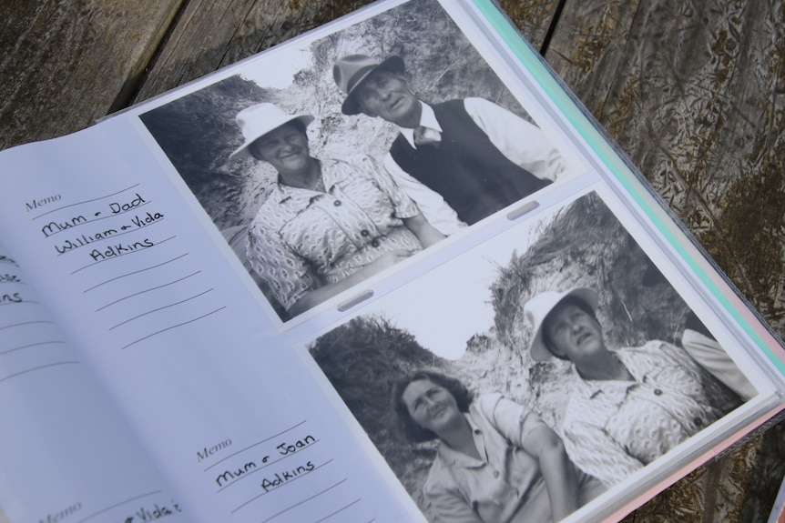 Photos of black and white photos in a photo album. One photo is of an older man and a woman, the second is of two women.