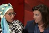 Yassmin Abdel-Magied (left) and Senator Jacqui Lambie (right) go toe-to-toe on Q&A