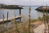 A marina with a jetty and a couple of fisherman is in the foreground, with Spencer Gulf in the background.