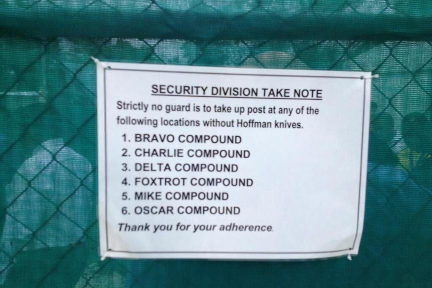 Sign at Manus Island detention centre