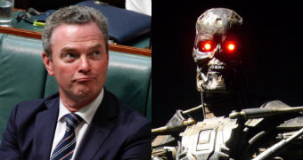 Christopher Pyne frowns in the House of Reps. A Terminator robot with red eyes looks straight ahead